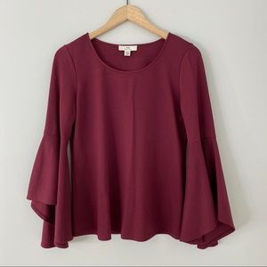 H by Halston Burgundy Bell Sleeve Top